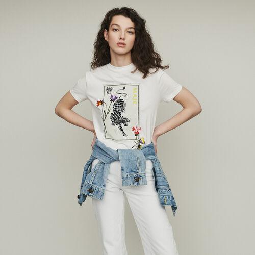 T-Shirt mit Print und Stickereien : T-Shirts farbe Weiss