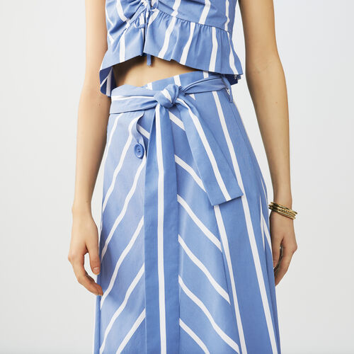 Belted midi skirt with front poppers : Röcke & Shorts farbe Blau