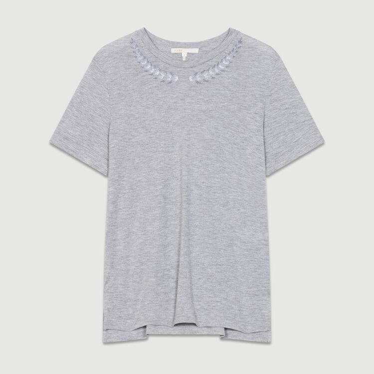 T-Shirt mit Stickerei : Bekleidung farbe Grau