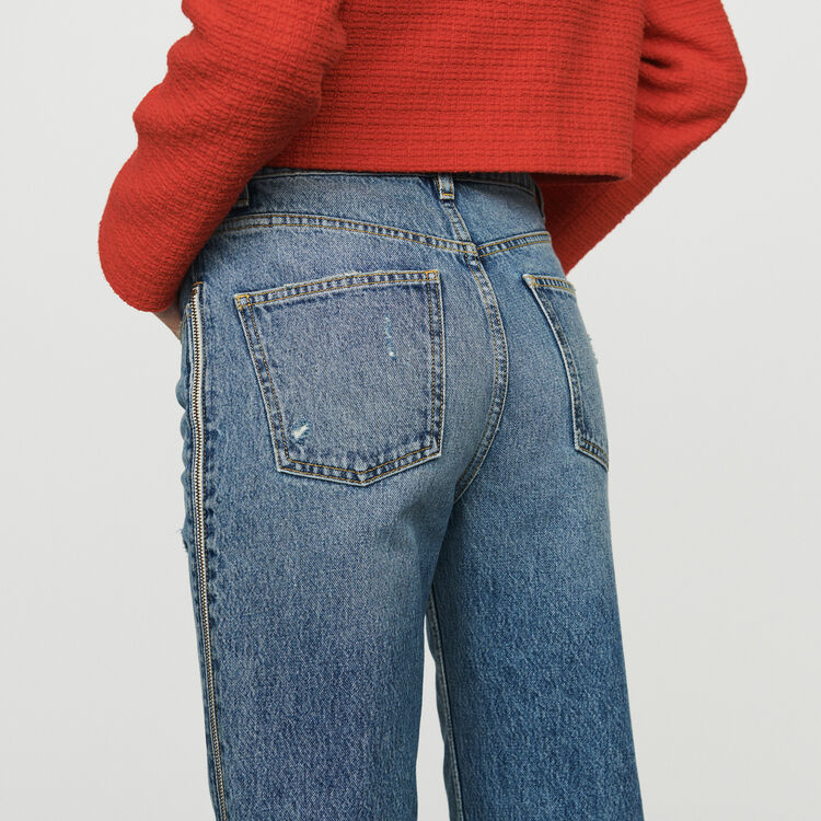 Gerade Jeans mit Reißverschluss : Jeans farbe Denim