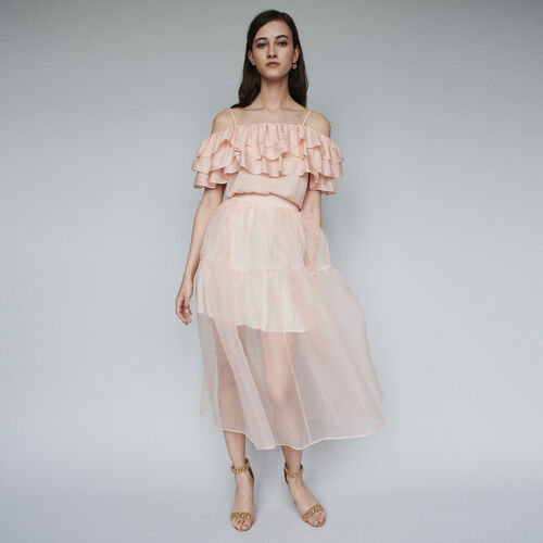 Langes Kleid mit Organza : Röcke & Shorts farbe Mandarine