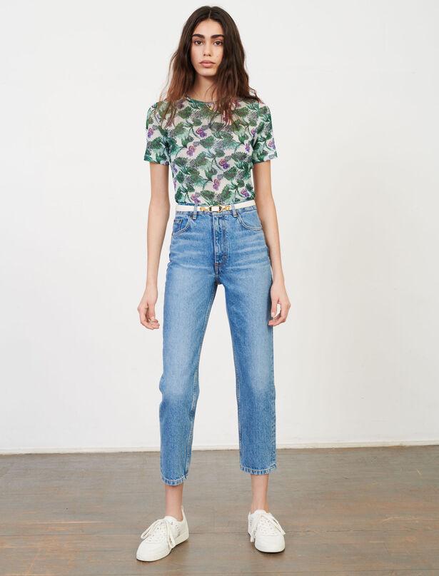 마쥬 반팔티 MAJE T-Shirt aus bedrucktem Tuell,Végétal Écru/Vert
