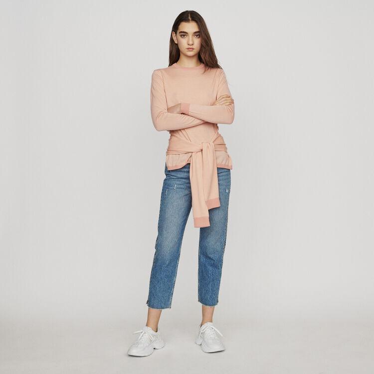Pullover mit Band zum Binden : Pullover & Strickjacken farbe Koralle