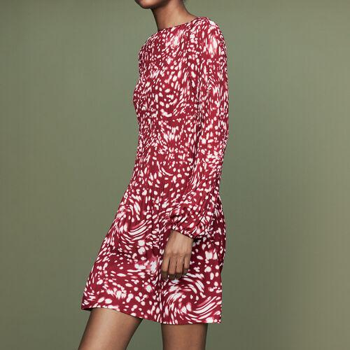 Plissee-Kleid mit edlem Print : Weinrot farbe IMPRIME