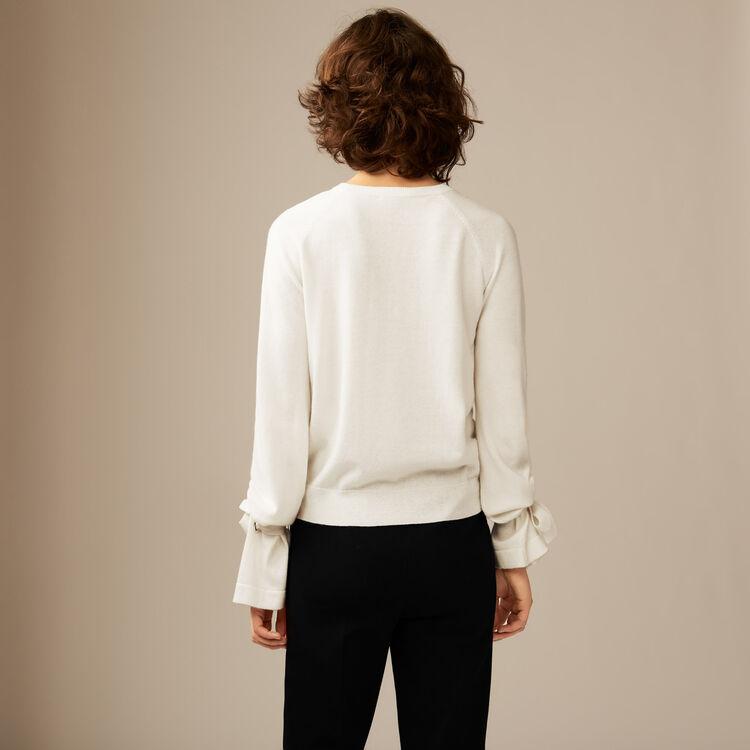 Dünner Pullover mit Bändern : Strickwaren farbe Ecru
