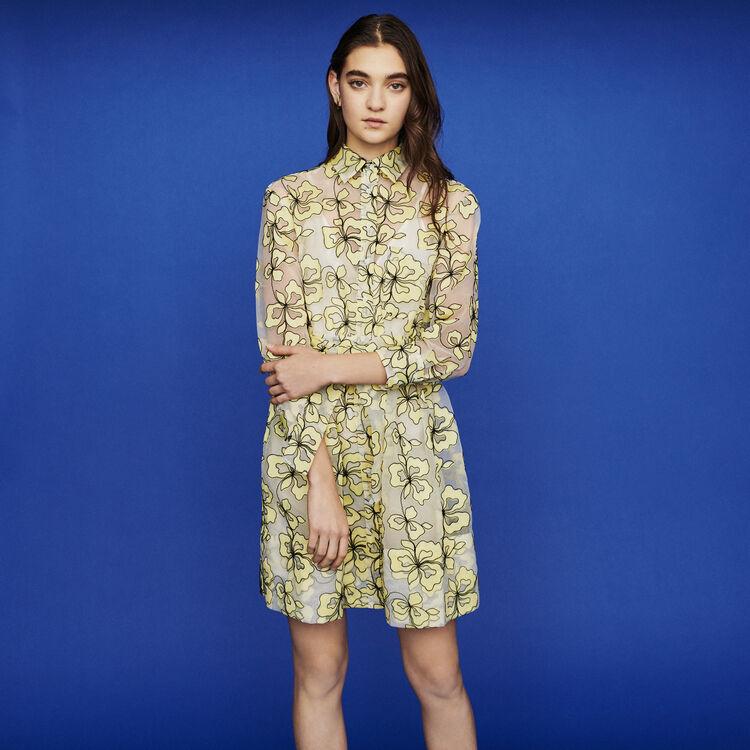 Organza dress with flowers : Kleider farbe Gelb