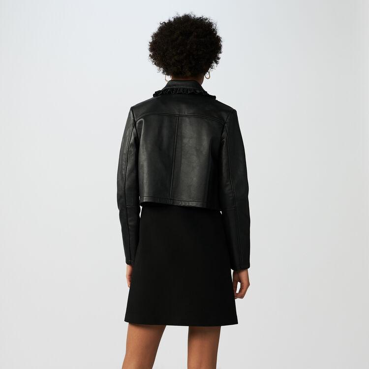 Kurze Lederjacke mit Volants : Jacken farbe Schwarz