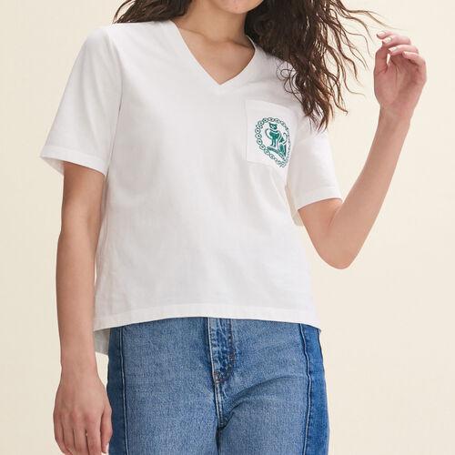 T-Shirt aus Baumwolle mit Stickerei : T-shirts farbe Ecru