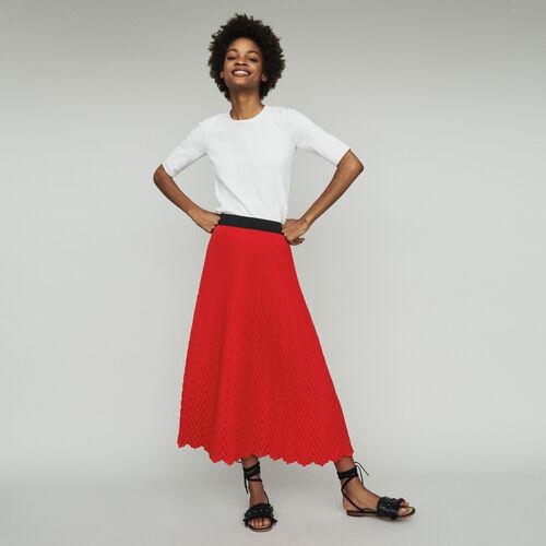 Langer Rock mit Fischgrätenmuster : Röcke & Shorts farbe Rot
