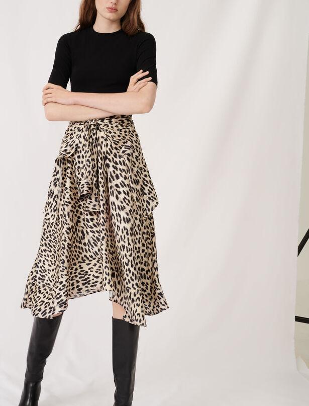 마쥬 투인원 레오파드 패턴 원피스 ('한번 다녀왔습니다' 이민정 착용) MAJE Bedrucktes Kleid aus Jersey und Satin,Léopard naturel