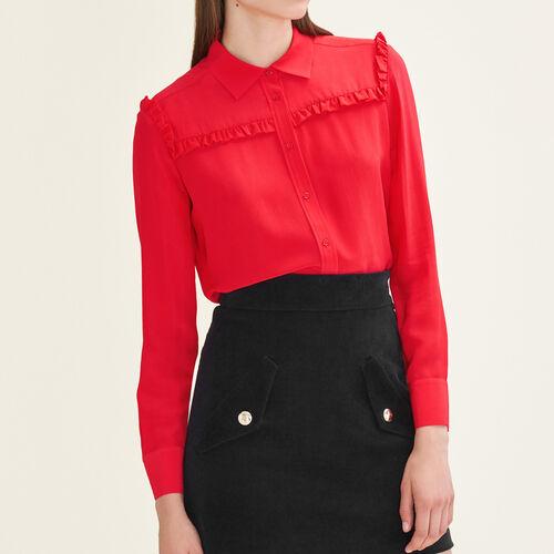 Seidenhemd mit Rüschen : Tops farbe Rot