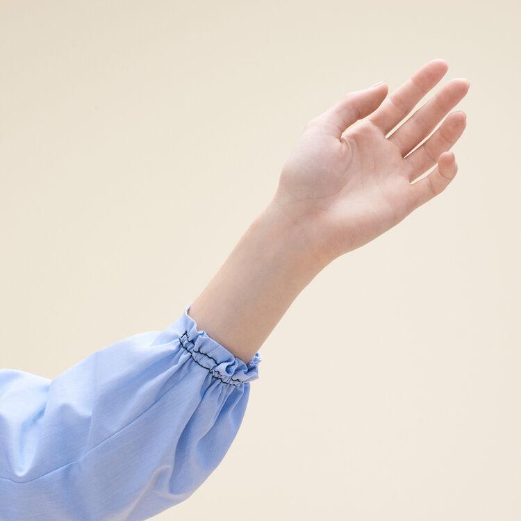 Blusen-Top aus Baumwolle mit Smokarbeit : Tops farbe Blau