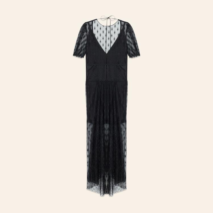 Langes Kleid mit Stickereien und Spitze : Kleider farbe Schwarz