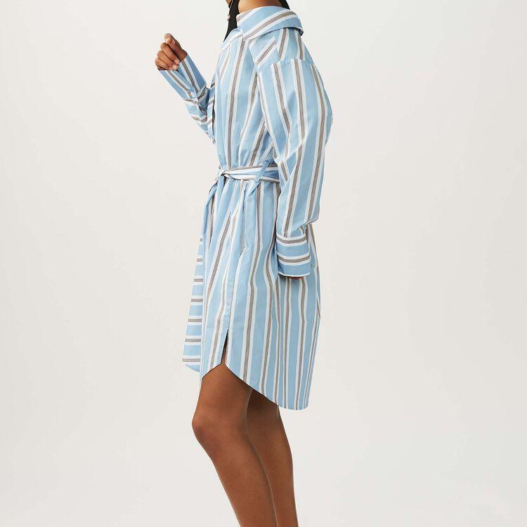 Gestreiftes Oversize-Hemd-Kleid : Kleider farbe Himmelblau