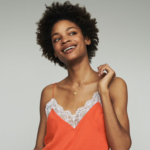 Unterhemd mit Spitzenbesatz : Tops & Hemden farbe Orange