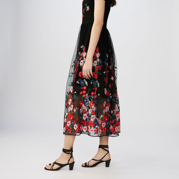 Langes besticktes Tüllkleid : Kleider farbe Schwarz