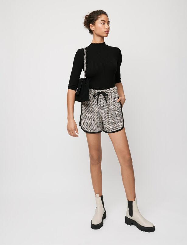 마쥬 반바지 MAJE Shorts in Tweed-Optik mit Kontrasten,Hellrosa