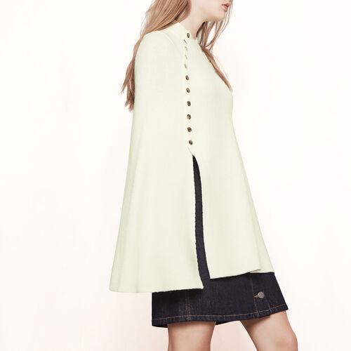 Cape im Poncho-Stil mit Druckknöpfen : Pulls & Cardigans farbe Ecru