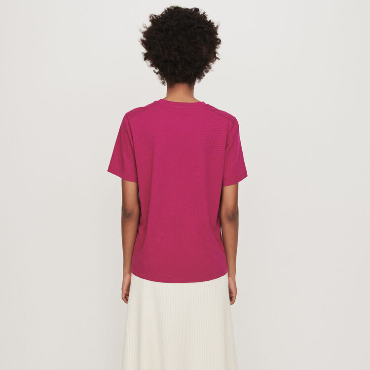 T-shirt mit Stickerei : T-Shirts farbe Fuchsiafarben