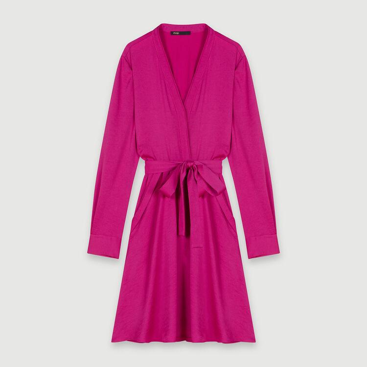 Elastisches Satin Kleid : Kleider farbe Fuchsiafarben
