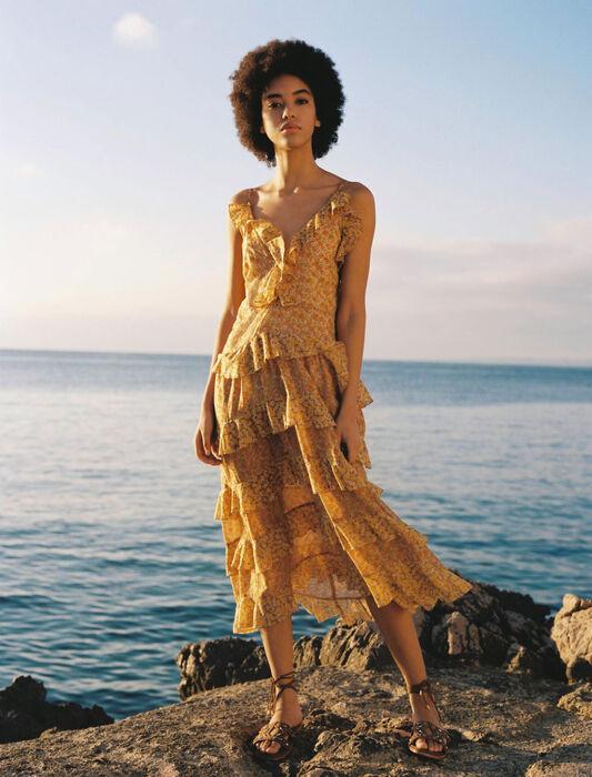 Volantkleid aus bedrucktem Baumwollvoile : Kleider farbe Orange