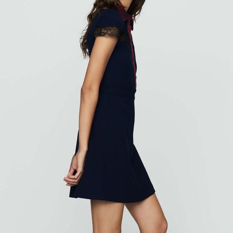 Hemd-Kleid aus Krepp und Spitze : Kleider farbe Marineblau