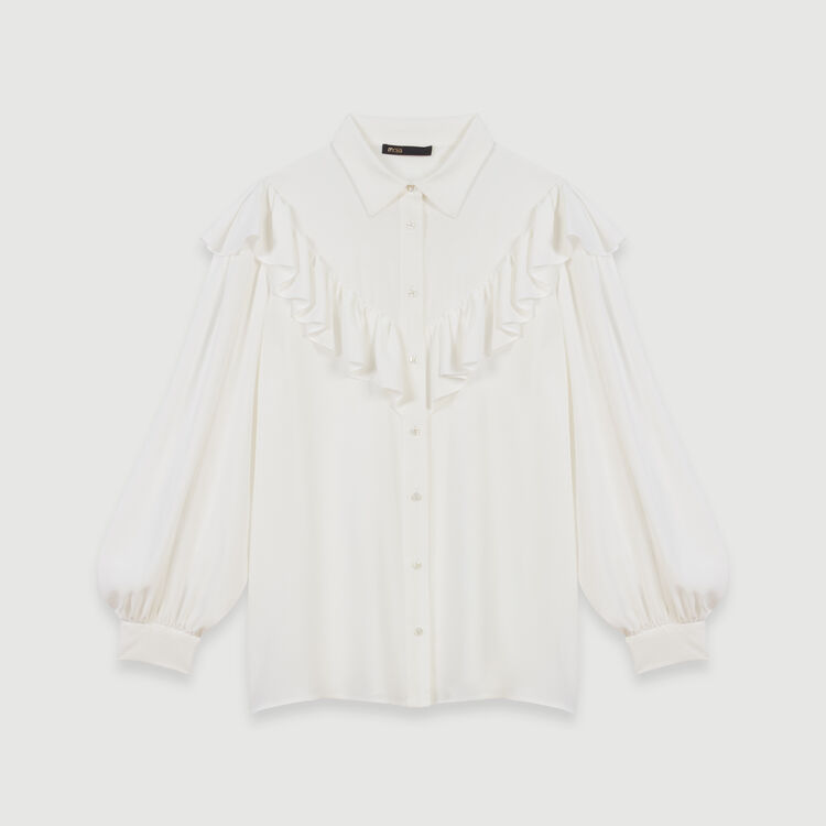 Rüschenbluse : Tops & Hemden farbe Weiss