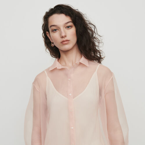 Bluse mit Organza : Tops & Hemden farbe Mandarine