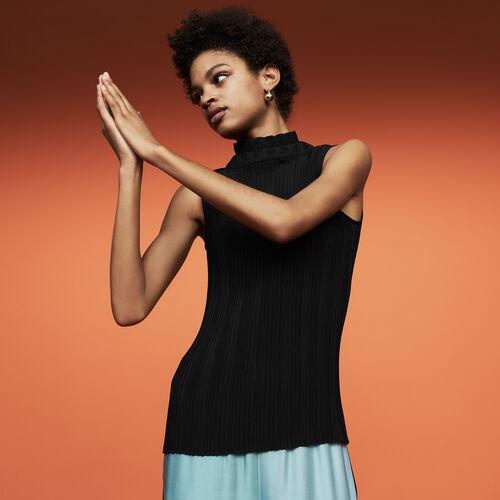 Ärmelloses Plissee-Top : Tops & Hemden farbe Schwarz