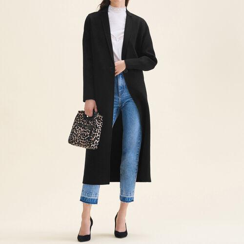 Langer Mantel aus Doubleface-Wolle : Mäntel farbe Schwarz