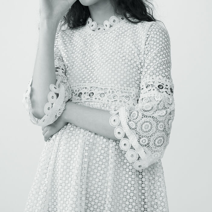 Langes Guipure-Kleid : Kleider farbe Rosa