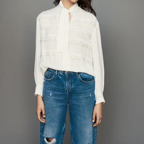 Bluse mit bestickten Volants : Hemden farbe Weiss