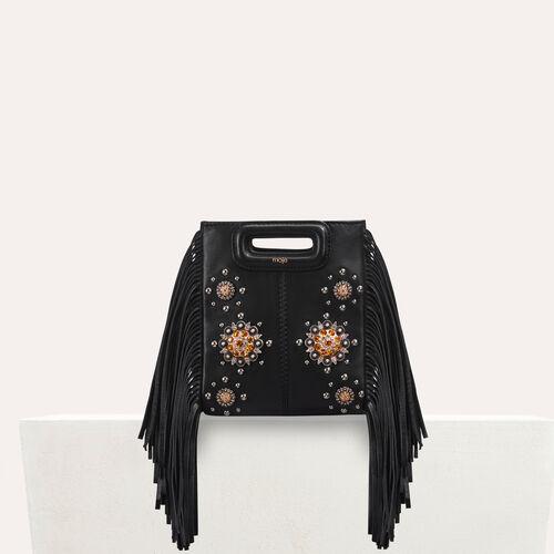 Mini-M-Tasche aus Leder mit Nieten : Leder farbe Schwarz