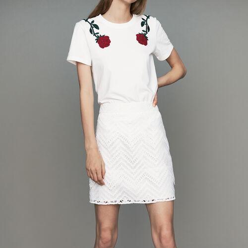 Kurzer Rock mit Spitze : Röcke & Shorts farbe Weiss