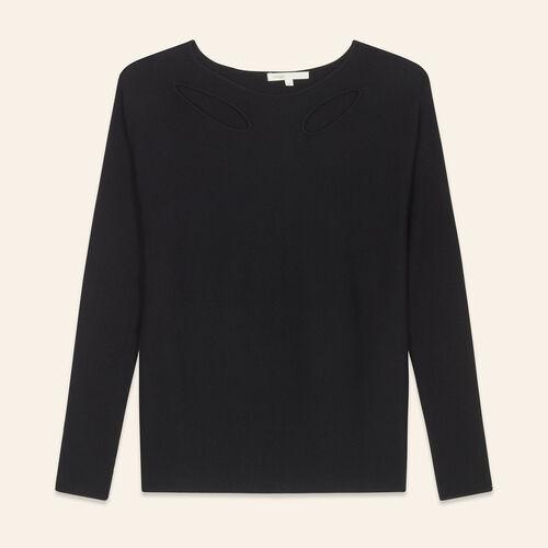 Dünner Pullover aus melierter Wolle : Pulls & Cardigans farbe Schwarz