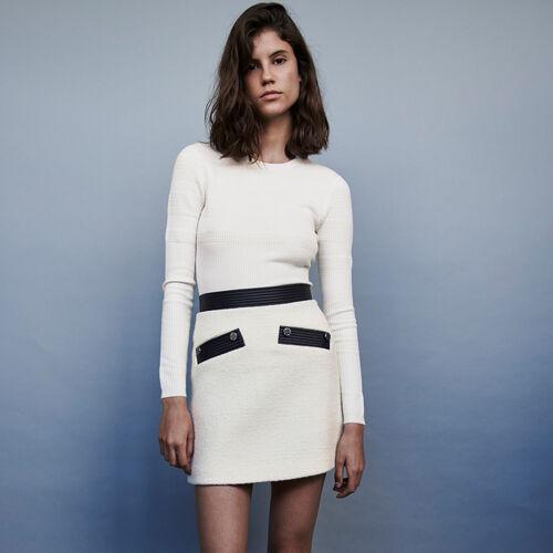 Rock mit Konstrast Tweed Effekt : Röcke & Shorts farbe Ecru