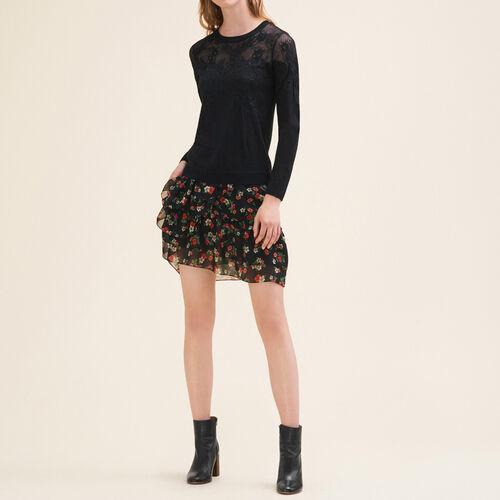 Dünner Pullover mit Spitze und Stickerei : Pulls & Cardigans farbe Schwarz