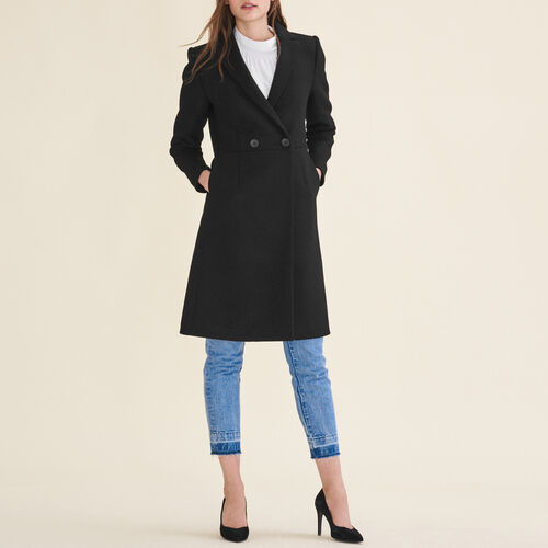 Halblange Redingote aus Wolle : Manteaux farbe Schwarz