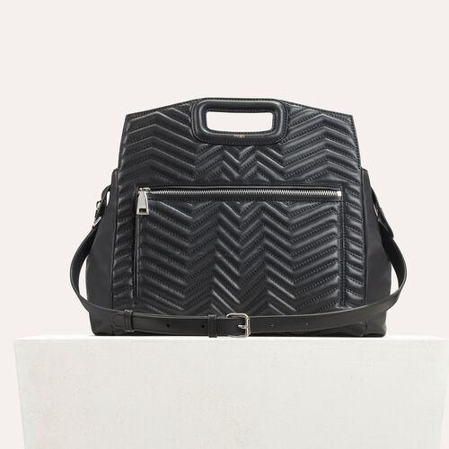 Umhängetasche aus gestepptem Leder : M Walk farbe Schwarz