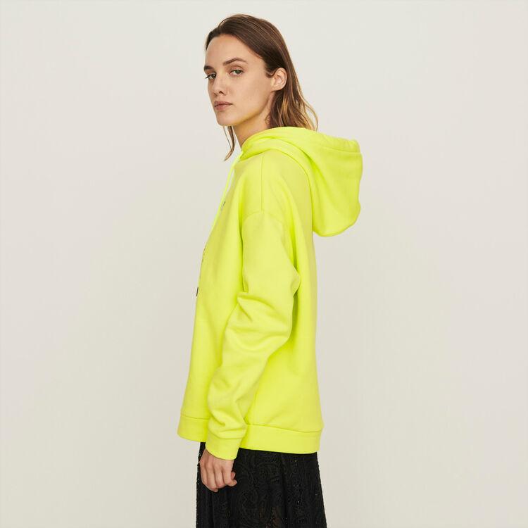 Sweatshirt mit besticker Kapuze : Winter Kollektion farbe Gelb