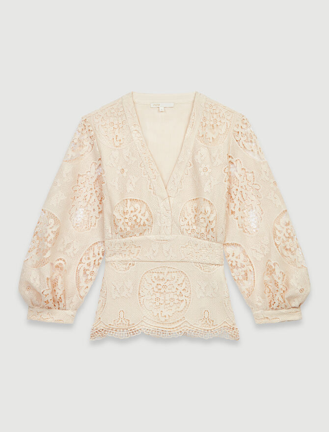 Guipure-Bluse mit Hakenreihe - Tops & Hemden - MAJE