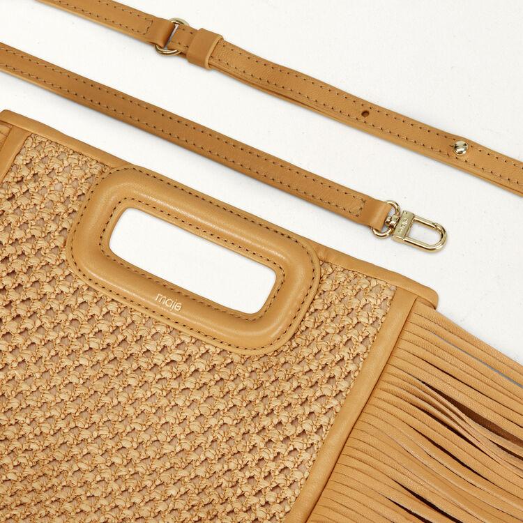 M-Tasche mit Fransen aus Raphia : M Tasche farbe NATUREL