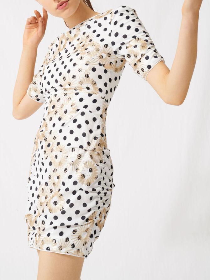 Gepunktetes Kleid mit Pailletten - Die ganze Kollektion - MAJE
