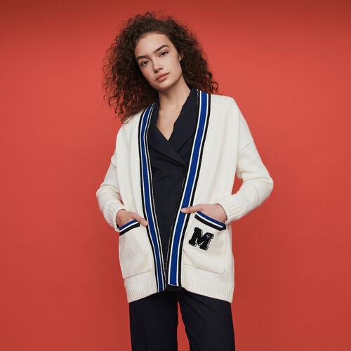 Cardigan mit Streifen und Stickereien : Winter Kollektion farbe Ecru