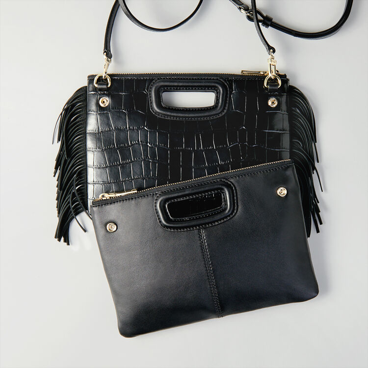 Crocodile embossed-leather M Duo clutch : M Duo farbe Schwarz