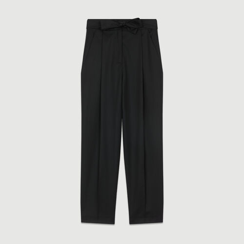 Bundfaltenhose aus Schurwolle : Hosen farbe Schwarz