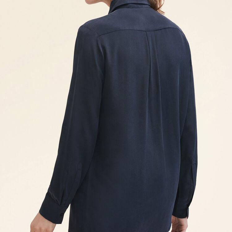 Seidenhemd mit Reißverschluss : Tops farbe Schwarz