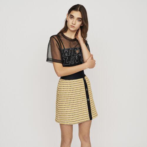 Kurzer Rock aus Tweed und Lurex : Röcke & Shorts farbe Gelb
