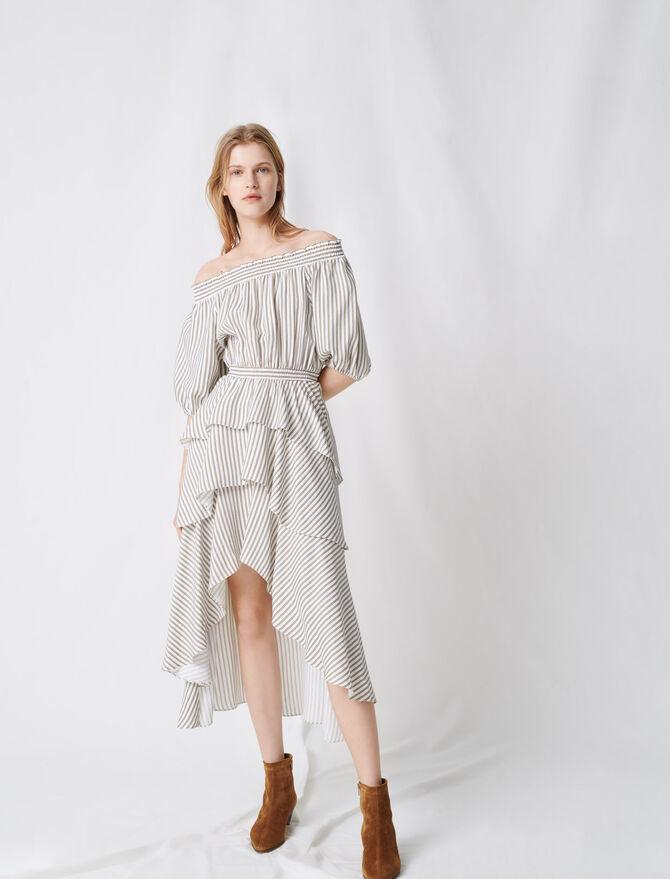 Gesmoktes Kleid mit Streifen und Volants -  - MAJE