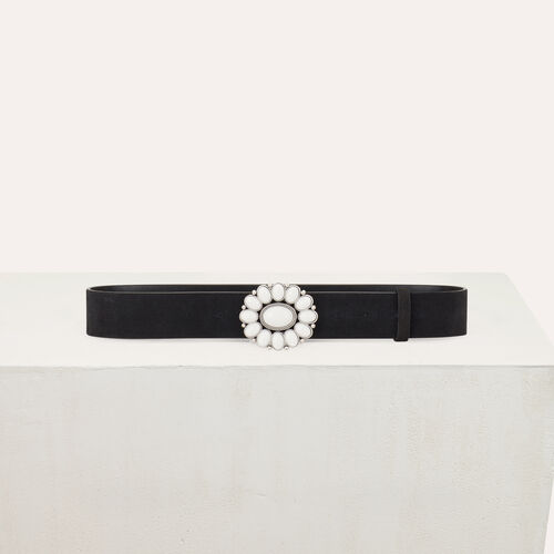 Leather belt with flower buckle : Gürtel farbe Schwarz